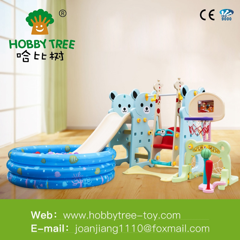 Cheap price children outdoor plastic Kid Slide and swing