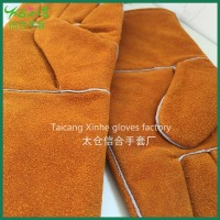 Long sleeve Yellow cotton leather Gloves