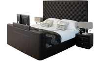 2014 New luxury king size leather bed with tv in footboard