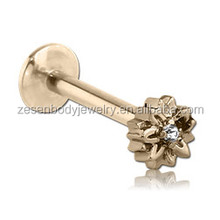16G labret rings gold plated lip stud Piercing Jewelry