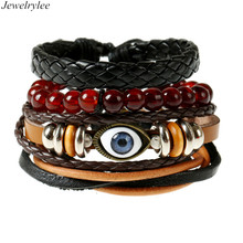 Europe ancient style diy bracelet braided leather bracelet with evil eyes