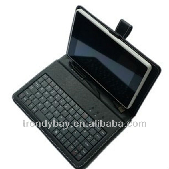 High quality 9 inch tablet pc leather keyboard case
