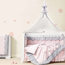 Adorable French Style Pink Flower Linen and Cotten Nursery Bedding Set for Baby Crib BF12-10214c