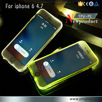 2016 for iphone 6s tpu electroplate pc bumper case 2 in 1 Incoming call led flashing phone case for iphone 6 led blink case