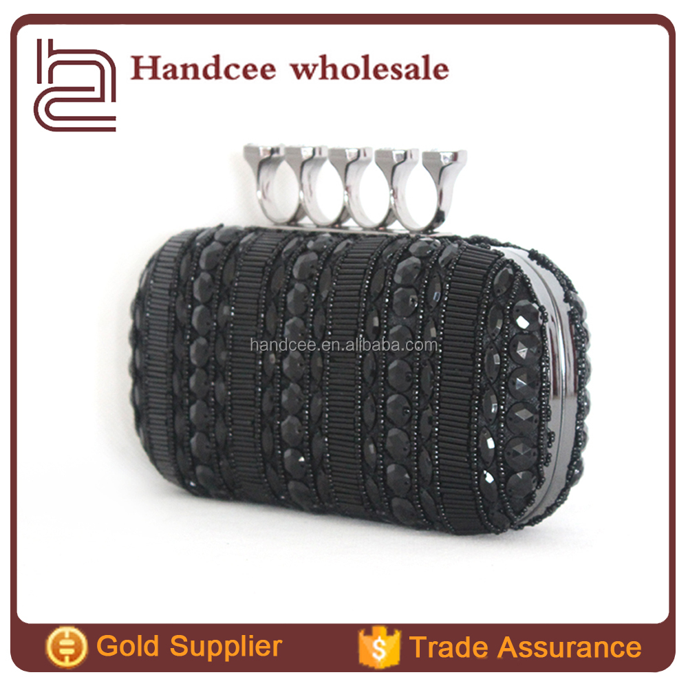 Dome clucth regale crystal lady beaded Black Acrylic clutches designer