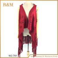 Factory new fashion women soft suede shawl with fringe