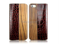 27mm no window at right angles wooden leather phone case for iphoen5