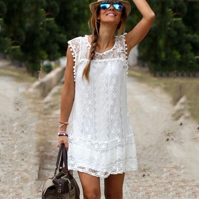 Summer Dress 2017 Women Casual Sleeveless Beach Short Dress Tassel Solid White Mini Lace Dress Vestidos Size