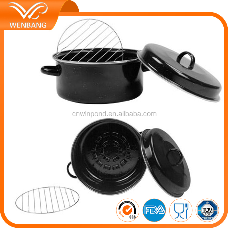high quality carbon steel enamel coated cooking soup steamer pot