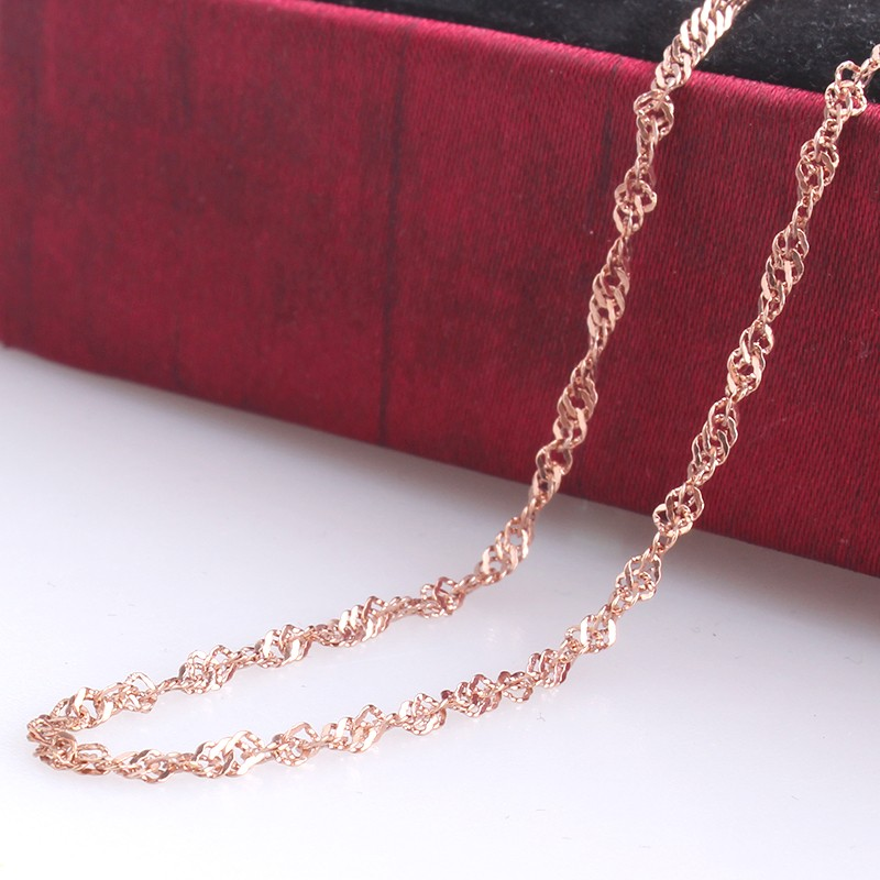 2mm width rose gold plated Twisted chains length 316L Stainless steel Necklace for men