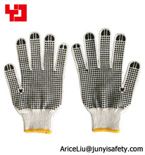 construction pvc dot cotton glove