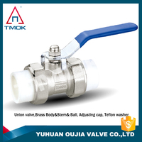 ppr brass cock ball valve high quality and forged with full port three way NPT threaded connection with polishing plating PPR