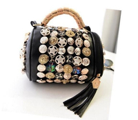Cheap PU Bucket Bag women cross body bags fashion Buttons Punk style MANUFACTURER TOTE BAGS