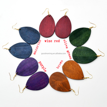 Wholesale Yiwu Fashion 5 Color Available Wooden Teardrop Earrings