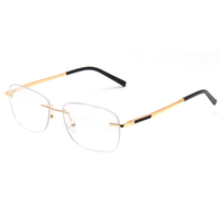 Cheap Metal Rimless Optical Frames Women Men Classic Rectangle Eyeglasses Frames With Spring Hinge