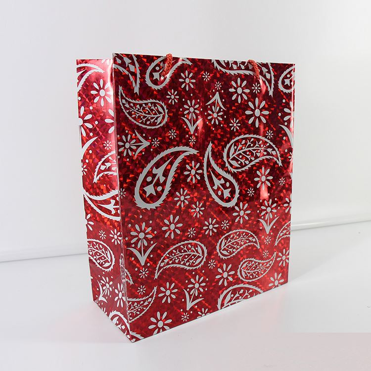 Latest trends special design embossed holographic gift packing paper carry bag