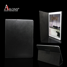 Aaron high quality classic black genuine cowhide leather book case for ipad pro