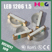 Hot sale 1.5T package chip led 20mA green color 1206 smd led specifications