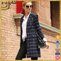 Custom 2016 latest slim fit formal design double breasted fashion ladies suit casual women jacket blazer