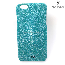 High-end Stingray Pattern green China 100% Authentic Stingray Leather Cell Phone Case