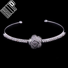 Hot Sale Camellia Pave Rehinestone Charm Cuff Bracelet