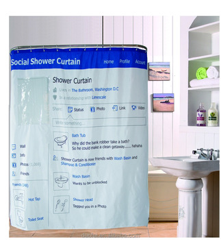 Factory Oem Stock Sale New Grey Facebook Style Polyester Waterproof Shower Curtain