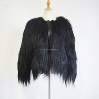 SJ504 Black Colored Natural Fur Jacket with Sheep Leather Luxury Goat Jacket