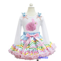 Easter Pastel Chevron Pettiskirt Plus Rosettes Pearl Bunny White Long Sleeves Tee 1-7Y