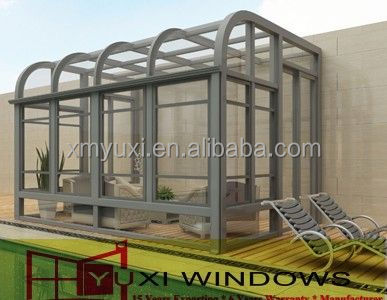aluminum curved glass sunroom with tempered glass