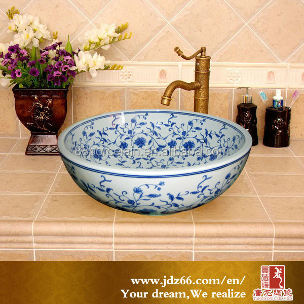 Concise beauty hand wash basin pictures blue color