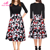 Fashion Black Splicing Patterned Cocktail Casual Latest Designs Women Sexy Dress