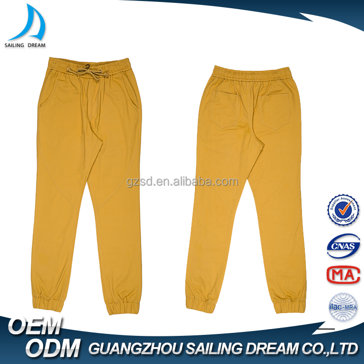 2016 latest design mens compression pants , 100% cotton yellow mens chino pants with cotton string