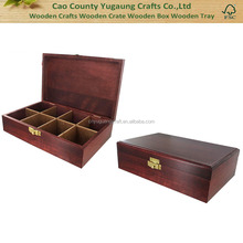 Cherry Stain Finish Wooden Tea Chest