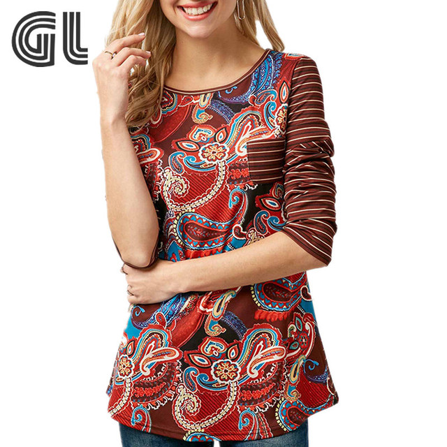 Korea style long sleeve button back printed fashion t shirt for women