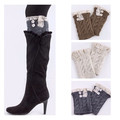 Women Soft Crochet Knitted Lace Button Trim Boot Cuffs Toppers Leg Warmers Winter Socks