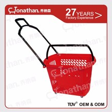 SJB-TL-1 supermarket handy rolling cheap plastic grocery basket