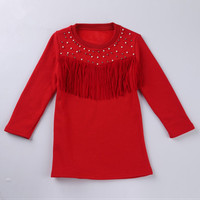 2015 New Autumn Kids Fashions Tees Girls Long Sleeve Red Tassel Beading T-shirts Children Christmas Clothes GT81110-51