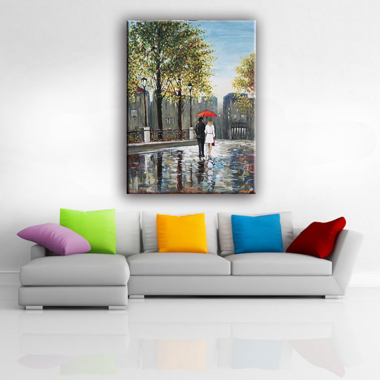 Lover in rain modern abstract human figure handmade oil canvas painting