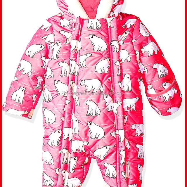 Super warm h&f garment Baby 0-24M unisex Winter Hoodie Baby Winter Snowsuit with super cute bear ear 100% cotton for winter wear