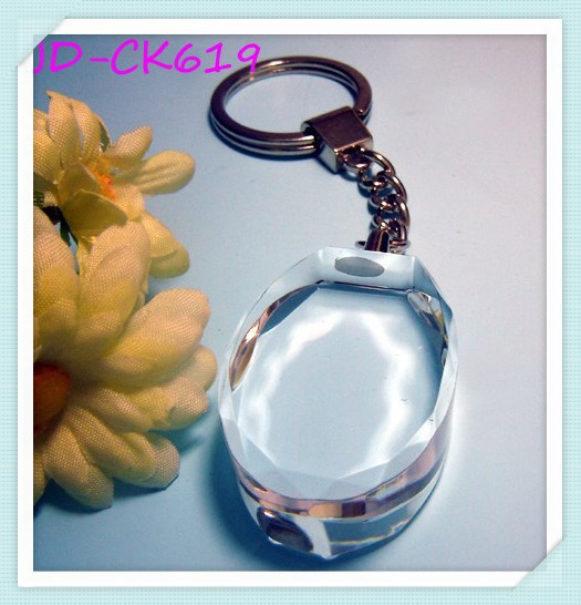 Custom Oval Blank Cheap Crystal Keychain Accept Laser Engraving Logo