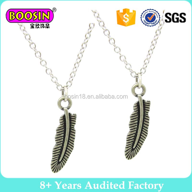 Antique Silver Plated Zinc Alloy Feather Charms Necklaces Accessories