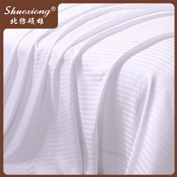 White 100% cotton 240TC 1m sateen stripe bedding fabric