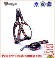 Dog paw or bone printed nylon dog harness nylon dog harness collar and leash