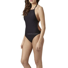 solid black backless one piece women bathing suit hot selling