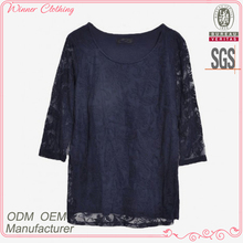 Ladies' fashion 3/4 sleevs cotton lace H shape ladies 2012 modernwomen white cotton high neck blouse