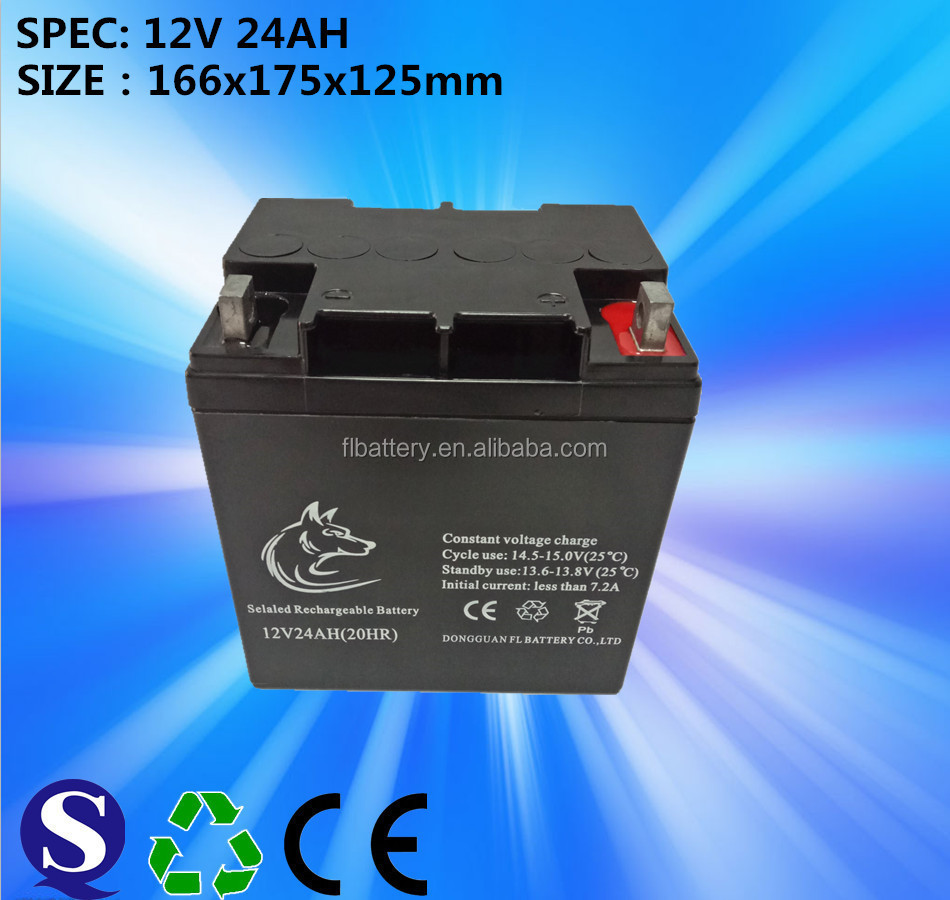12V/24Ah gel battery for solar systems/wind power generation systems/UPS/inverter/EPS/street lamp