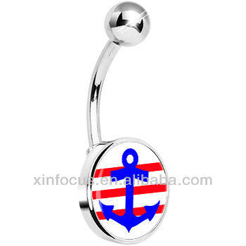 Red White Stripe Blue Anchor Belly Ring body puncture jewelry