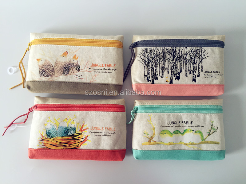 Fashion Plain Linen Fabric Pencil Case / Pen Bag