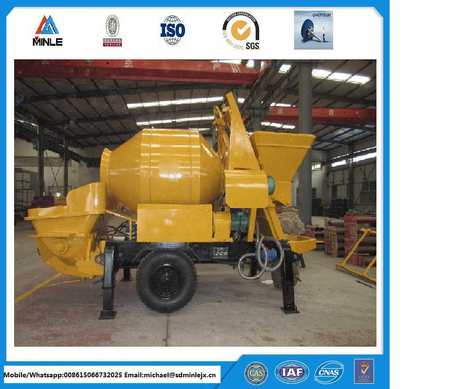 pumpcrete with portable concrete mixer ISO BV Certificate, hydraulic system power, alibaba supplier