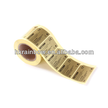 55X90 mm Gold foil sticker/labels make in roll